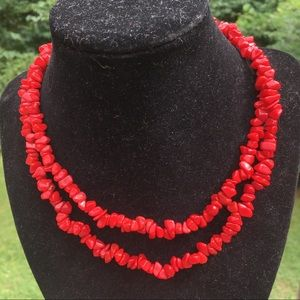 "Vintage 34"" red coral necklace"